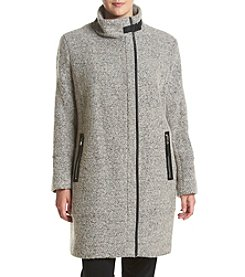 Calvin Klein Plus Size Asymmetrical Zip Boucle Coat