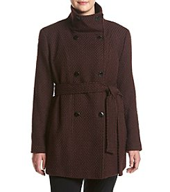 Calvin Klein Plus Size Belted Funnel Neck Coat
