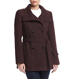 Calvin Klein Petites' Basketweave Trench Coat
