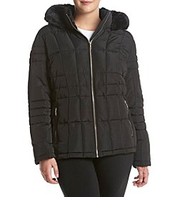 Calvin Klein Plus Size Faux Fur Trim Hood Coat