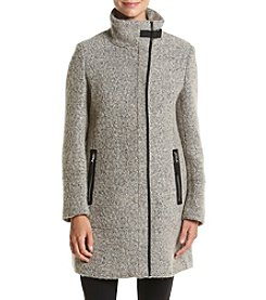 Calvin Klein Asymmetrical Zip Boucle Coat