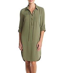 Jones New York® Lace Up Placket Dress