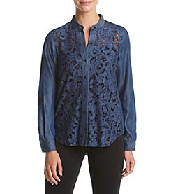 Jones New York® Button Front Burnout Top
