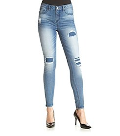 Hippie Laundry Medium Wash Destructed Skinny Jeans With Patches