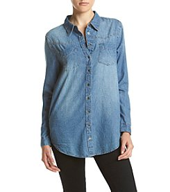 Hippie Laundry Crinkled Wash Chambray Tunic