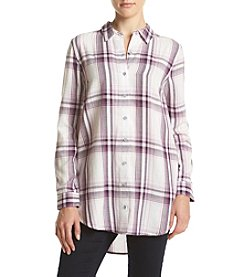 Hippie Laundry Plaid Button Up Tunic