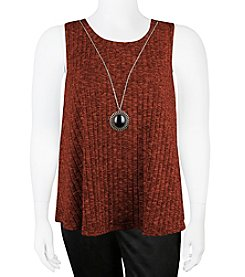A. Byer Plus Size Ribbed Trapeze Top With Necklace