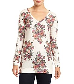 Eyeshadow® Long Sleeve Bar Back Floral Printed Pullover