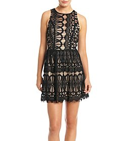 Trixxi® Lace Over Nude Lining High Neck Skater Party Dress