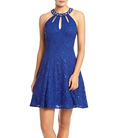 Morgan & Co.® Rhinestone Neck Cutout Lace Party Dress