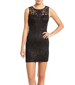 A. Byer Sequin Sheer Lace Insets Party Dress