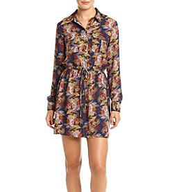 Be Bop Printed Floral Shirt Dress