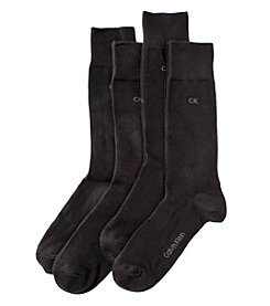 Calvin Klein Men's 4-Pack Flat Knit Dress Socks