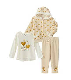 Nannette® Baby Girls' 3-piece Glitter Heart Fleece Set