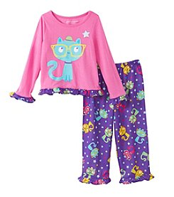 Komar Kids® Girls' 2T-4T 2-Piece Smarty Cat Pajama Set