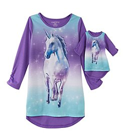 Komar Kids® Girls' 4-16 Unicorn Nightgown & Doll Dress Set