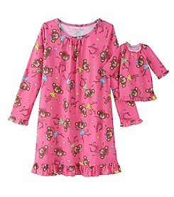 Komar Kids® Girls' 4-16 Monkey Nightgown & Doll Dress Set