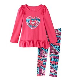 Nannette® Girls' 2T-4T 2-Piece Heart Tunic And Leggings Set