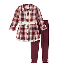 Nannette® Girls' 2T-4T 2-Piece Plaid Tunic And Leggings Set