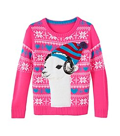 It's Our Time® Girls' 7-16 Llama In Headphones Sweater