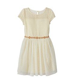 Sequin Hearts® Girls' 7-16 Beaded Belt Fit And Flare Dress