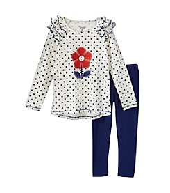 Nannette® Girls' 2T-6X 2-Piece Daisy Dot Tunic and Leggings Set