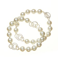 Napier® Simulated Pearl Two Row Stretch Bracelet