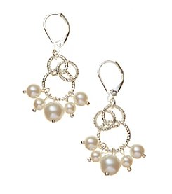 Napier® Simulated Pearl Lever Back Chandelier Earrings