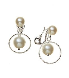 Napier® Simualted Pearl Orbital Drop Clip Earrings