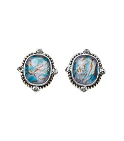 Napier® Abalone Sheet Button Earrings