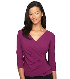 Alex Evenings® 3/4 Sleeve Surplice Blouse