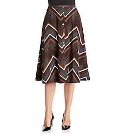 Relativity® Printed Buttonfront Midi Skirt