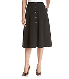 Relativity® Buttonfront Midi Skirt