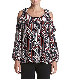 Relativity® Printed Ruffle Cold Shoulder Blouse