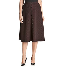 Relativity® Printed Button Front Midi Skirt