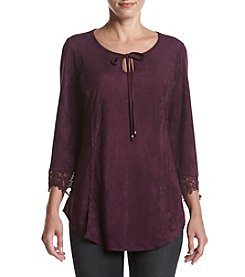 Relativity® Faux Suede Crochet Trim Blouse