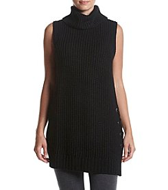 AGB® Lace-Up Hem Turtleneck Sweater