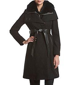 DKNY® Belted Funnel Neck Coat