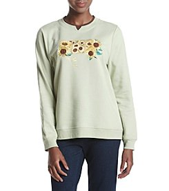 Breckenridge® Sunflower Garden Fleece Crew Neck Pullover