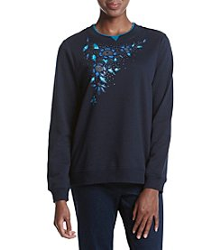 Breckenridge® Blue Botanical Fleece Crewneck