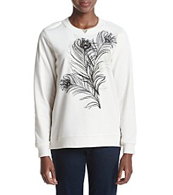 Breckenridge® Elegant Feathers Fleece Crewneck