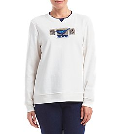 Breckenridge® Petites' Indigo Bluebirds Fleece Crew Neck Pullover