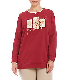 Breckenridge® Plus Size Tree Triptych Fleece Crew Neck Top