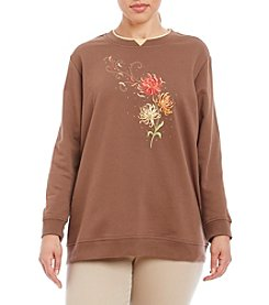 Breckenridge® Plus Size Beautiful Blowing Dahlias Fleece Crew Neck Pullover