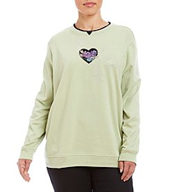 Breckenridge® Plus Size Heart Flowers Fleece Crew Neck Pullover
