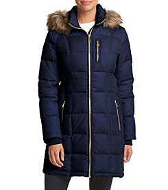 MICHAEL Michael Kors® Petites' Faux Fur Trim Hooded Long Down Coat