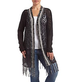 Oneworld® Plus Size Open Front Fringe Detail Cardigan