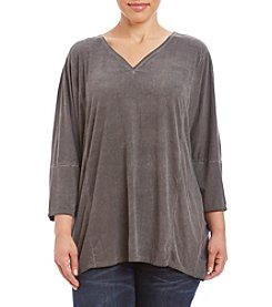 Oneworld® Plus Size Solid Dolman Sleeve Top With Lace Detail