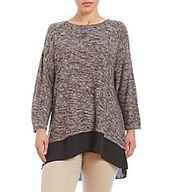Cupio Plus Size Marled Drop Shoulder High-Low Top