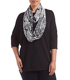 AGB® Plus Size Solid Top With Printed Scarf